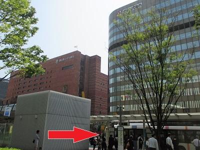 博多駅前Aのバス乗り場の場所