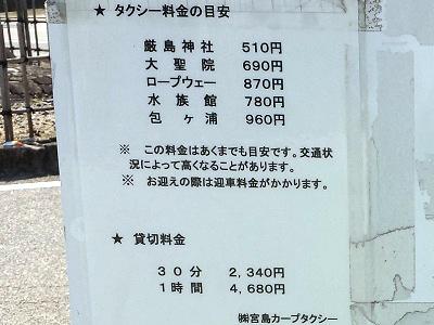 宮島のタクシー料金と乗り場