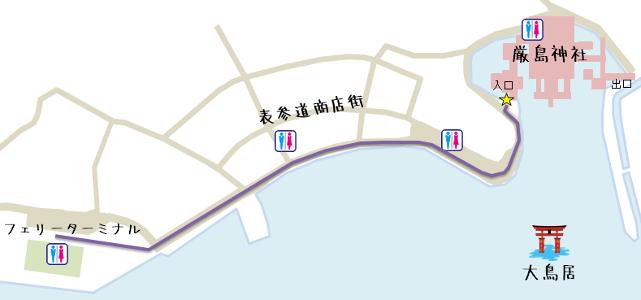 宮島桟橋から厳島神社の行き方地図