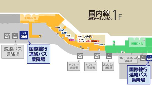 福岡空港国内線から国際線への連絡バス乗り場