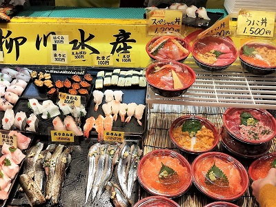 唐戸市場の寿司と海鮮丼