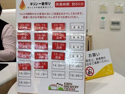 福岡キリンビール工場見学の所要時間