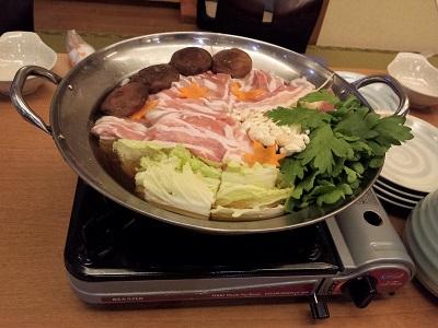 万葉の湯の宴会コースの鍋