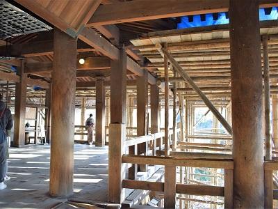 清水寺の工事期間中の本堂