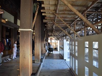 工事中の清水寺の本堂