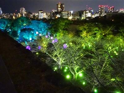 チームラボ福岡城跡光の祭2019-2020の天守台から3