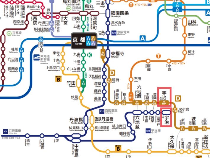 京都駅から宇治駅までの路線図