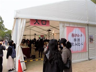 太宰府梅酒祭り飲み比べ会場テント